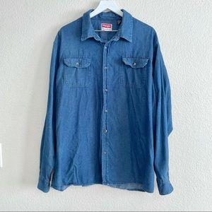 Vintage Wrangler Blue Jean Denim Button Up Shirt